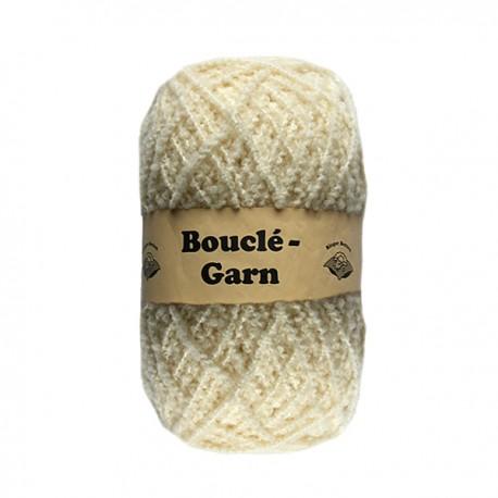Schurwolle 100% Schafwolle Bouclegarn natur 2f NS3-4