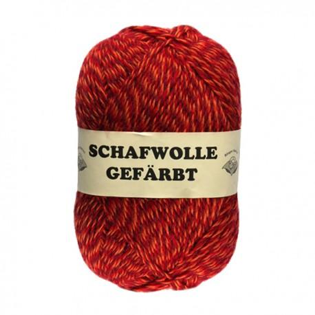 Schurwolle 100% Schafwolle rot meliert 3f NS3-4
