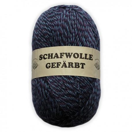 Schurwolle 100% Schafwolle blau meliert 3f NS3-4